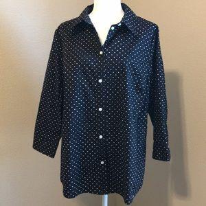 Allison Daley Black and White polka dot shirt
